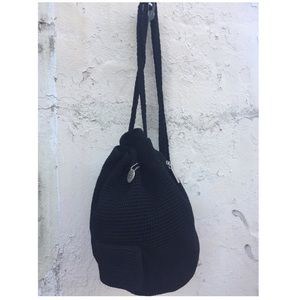 THE SAK Black Knit Mini Satchel Bag
